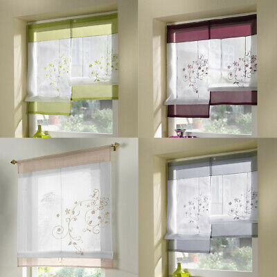 Elegant Embroidered Flower Roman Short Curtains Sheer Voile for Small Window