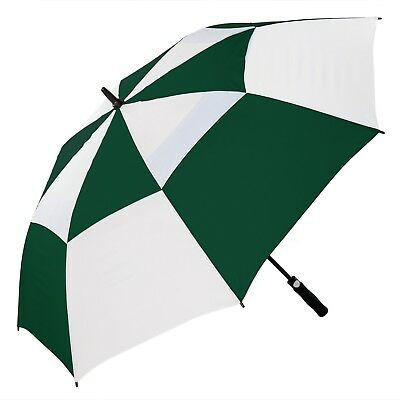 Big Golf Umbrella Automatic Storm Windproof Double Vented Canopy - Green & White