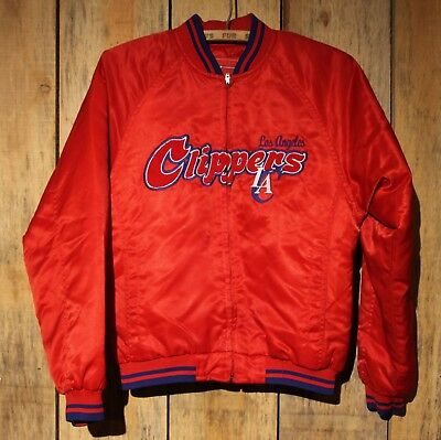 Vintage Los Angeles Clippers Reebok NBA Satin Jacket Sz Large Youth Red Blue