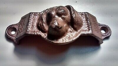 2 Cast Iron Antique Style DOG Face on Drawer Pull