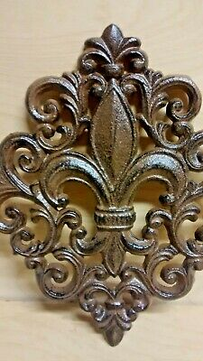 Large Diamond shape Fleur De Lis Plaque of Cast Iron Brown Wall Decore