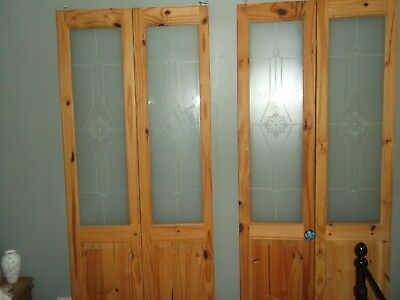 GLAZED PINE bifold doors. Stained and waxed. Safety glass. - £25.00 ...