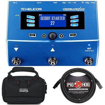 TC Helicon VoiceLive Play Vocal Effects Processor Blue + Case + 10' XLR Cable