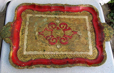 Antique Old Prirmitive Wooden Hand Carved Serving Tray Hand Painted
