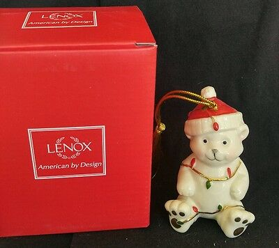Lenox Christmas Ornament Teddy Bear w/ Lights Very Merry Porcelain Holiday NIB