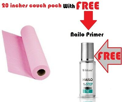 """Professional Pink 20"""" Hygiene Couch Roll with FREE Nailo 1st Step Acid Primer 9"""