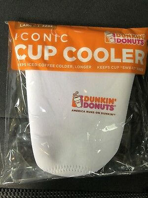 2018 Dunkin Donuts White Iconic Iced Coffee Cup Cooler Koozie Size Large 32 oz