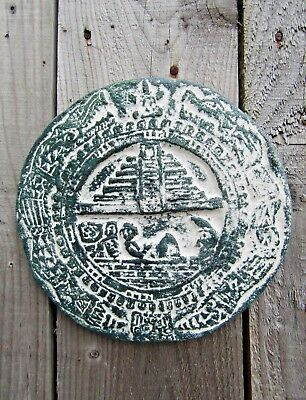 Fair Trade Hand Carved Made Ceramic Maya Mayan Chichen Itza Calendar Wall Plaque
