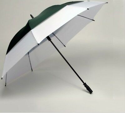 Large Golf Umbrella Windproof Vented Double Canopy Fibreglass Frame Green White