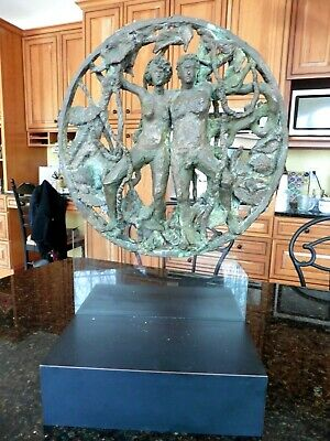 Bronze Sculpture Adam & Eve Garden of Eden floating glass Illusion Signed Song
