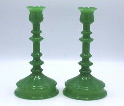 "Antique Pair of Green Molded Glass Candlesticks ~ 8.5"" Tall"