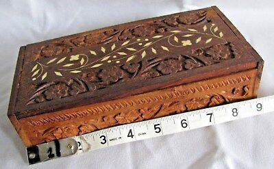 Mother Of Pearl  Lid &  Wooden Large Jewerly  Box Incl. Hand Carv  Designed