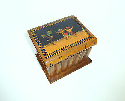 Unusual Wooden Box with Inlaid Casket Can um 1900 Italy B-4587