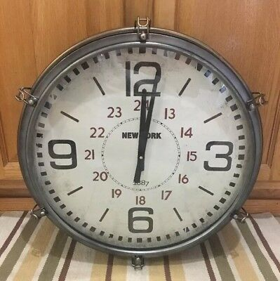 Wall Clock New York Boat Porthole Industrial Man Cave Decor Vintage Style Garage