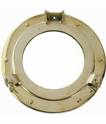 "Solid Brass Ship's Cabin Porthole Mirror 9"" Round Nautical Wall Decor New"