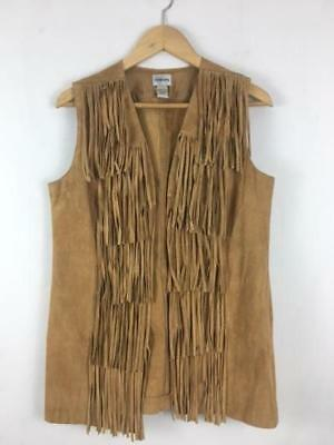 Stylish Women's Suede Genuine Leather & Fringe Vest by Chico's in Rich Caramel