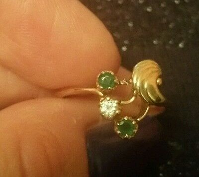 14 k russian gold ring emeralds and diamond. Size M.