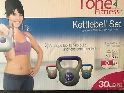 Tone Fitness Kettle bell Kit 5, 10, 15 Lbs. Weight Set Exercise Home Gym Workout