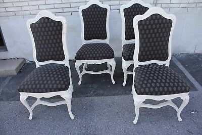 Set of Four French Louis XVI Hand Painted Side, Dining Chairs, New Upholstery