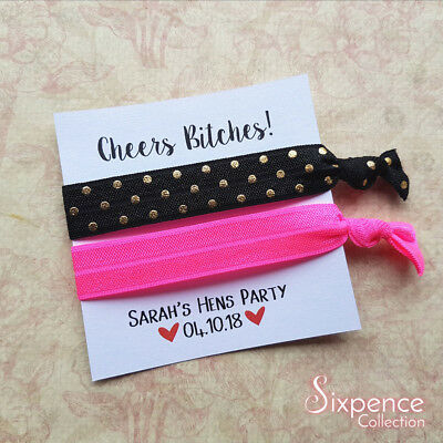 Cheers Bitches! Personalised Hair Tie Favours / Bachelorette Party / Hens Party