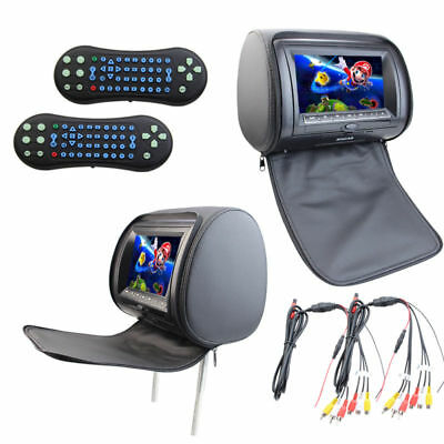 """2x7"""" HD Car Headrest Monitor with Built-in DVD Player USB Digital Screen Remote"""