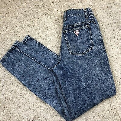 Vtg 80's Guess Georges Marciano Womens High Waist Denim Jeans size 31 Acid Wash