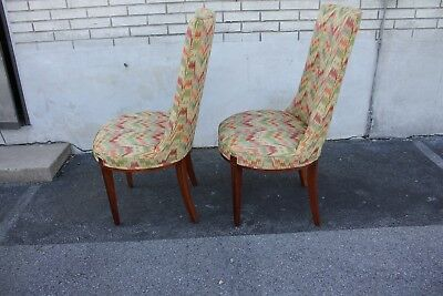 Pair of Hollywood Regency Mahogany Side Chairs, New Upholstery