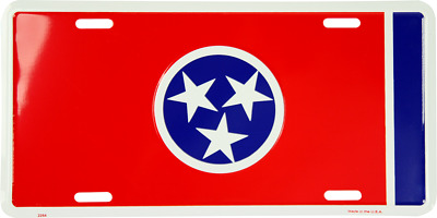 Tennessee TN State Flag Aluminum Metal Novelty Car License Plate Sign Tag
