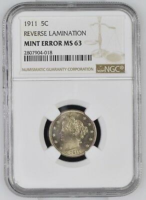 NGC MS-63 MS63 1911 US Nickel 5c V Liberty 5 Cents Reverse Lamination ERROR