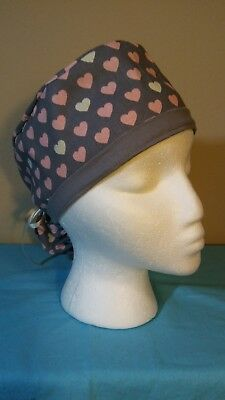 Pink and Cream Hearts Gray Ponytail Women's Surgical Scrub Hat/Cap Handmade
