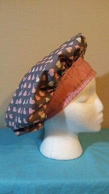 Pink and Cream Hearts Gray Bouffant Women's Surgical Scrub Hat/Cap Handmade