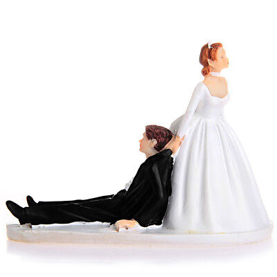 LinTimes Love Runaway Groom Wedding Cake Funny Couple Topper Figurine Now I You
