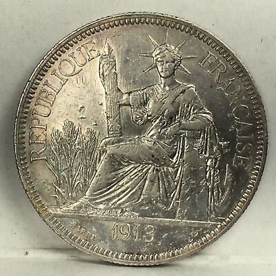 French Indochina 1 Piastre 1913 (weight 26.93g)