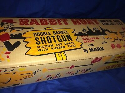 MINT 1950-60's MARX RABBIT HUNT SHOTGUN TARGET GAME NEW OLD STOCK NEVER REMOVED