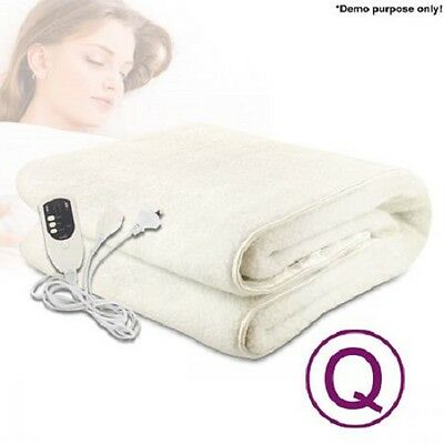 NEW 175W Queen Bed Size Luxurious Fully Fitted Polyester Electric Blanket White