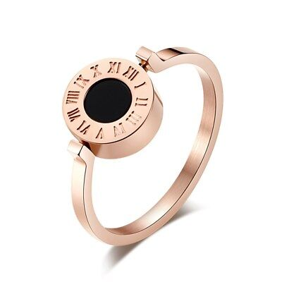 18K Rose Gold/Silver Roman Numeral Spinner Shell Band Titanium Steel Ring Sz 5-9