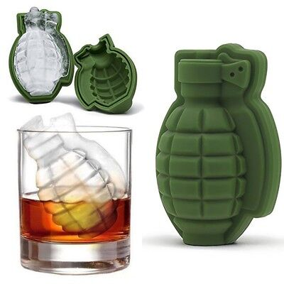 Grenade Shape 3D Ice Cube Mold Maker Bar Party Silicone Trays Mold Baking Tool