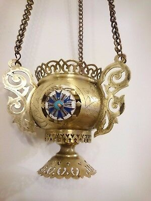 Antique Russian Orthodox Large Icons Large Lamp Lampada Brass Enamel 19th cent.