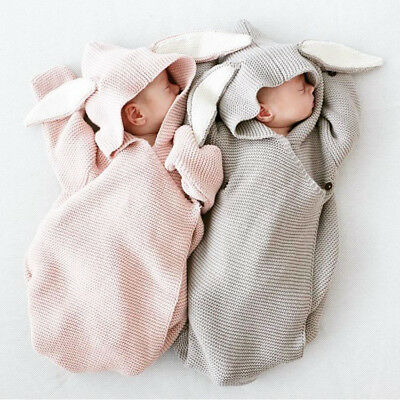 Newborn Babys Knitted Stereo Bunny Ear Swaddle Wrap Blanket Sleeping Bag UK Ship