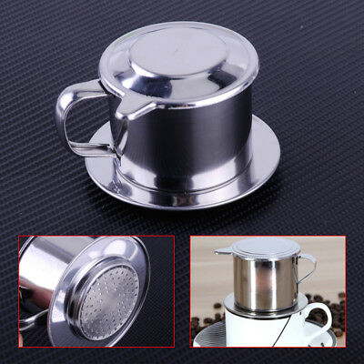 Stainless Steel Vietnamese Coffee Drip Filter Cup Phin Maker Infuser Press Sieve