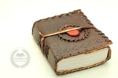 Red Stone Bound Leather Journal Wicca Book OF Shadows Blank Diary Spell Keeper