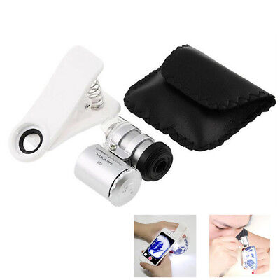 60X Zoom Mini UV LED Microscope Clip Magnifier Micro Lens for Currency Detect