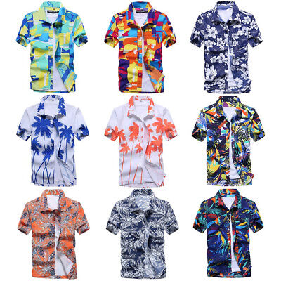 4b4211e1b Mens Short Sleeve Hawaiian Shirts Summer Beach Holiday Fancy Dress Tops L- 3XL