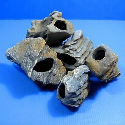 5PC MF CICHLID STONE Ceramic Aquarium Rock Cave decoration Ornaments fish tank
