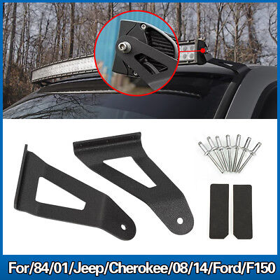"50"" Curved Led Light Bar Roof Mount Brackets Fit Jeep Cherokee XJ Ford F150."