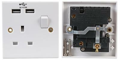 Single 13A 1 Gang Switched Mains PLUG Socket with 2x FAST 2.4A USB Ports WHITE