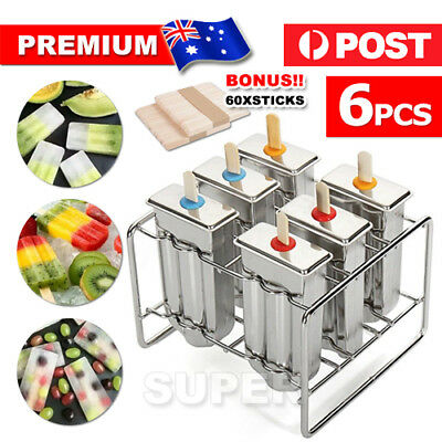 AU 6 Molds Stainless Steel Ice Cream Pop Mould Lolly Popsicle+60Pcs Stick Holder