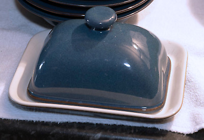 Denby Blue Boston Rectangular Butter Dish with Lid