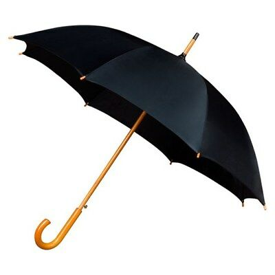 Walking Umbrella with Wooden Crook handle and Shaft - Automatic Opening - Black