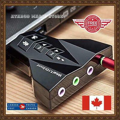External Virtual 7.1 CH Audio Sound Card Adapter Mic Speaker Channel USB 2.0 3D